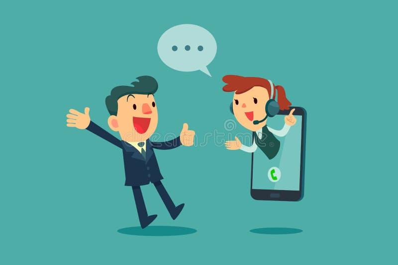 El hombre de negocios da el pulgar hasta operador de centro de atención telefónica en la pantalla de s ilustración del vector