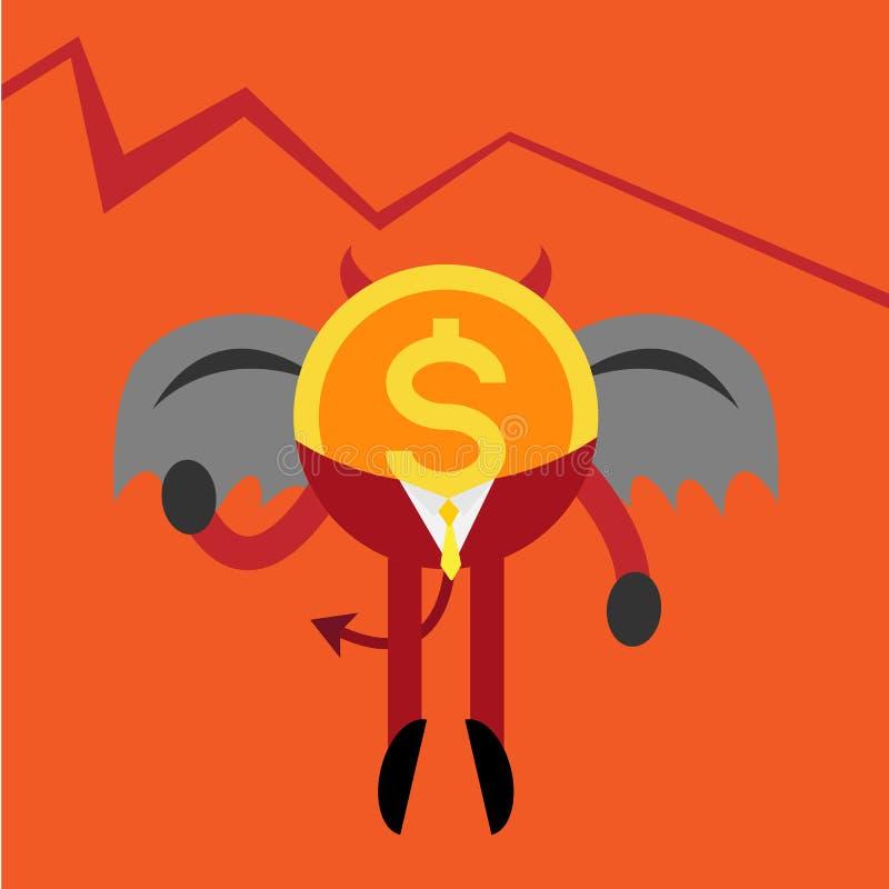El hombre de negocios de la moneda del diablo abajo representa gráficamente ilustración del vector