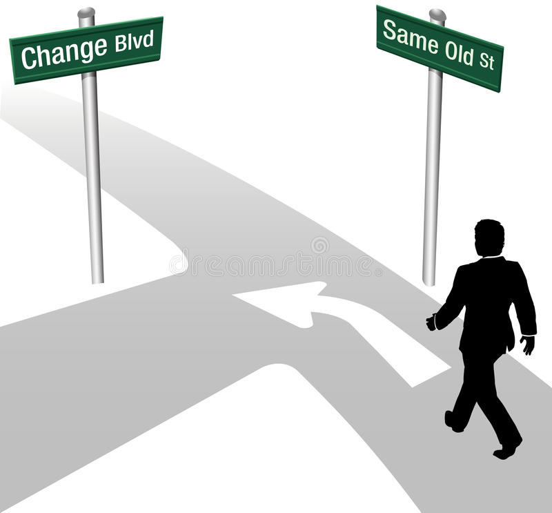 Download El Hombre De Negocios Decide Lo Mismo O Cambia Ilustración del Vector - Ilustración de vuelta, camino: 42426825