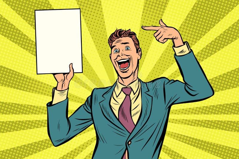 El hombre de negocios del arte pop señala en el cartel del espacio de la copia stock de ilustración