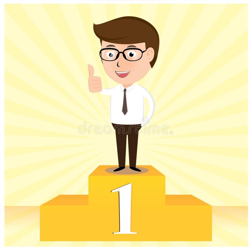 El hombre de negocios del ganador que se coloca orgulloso ilustración del vector