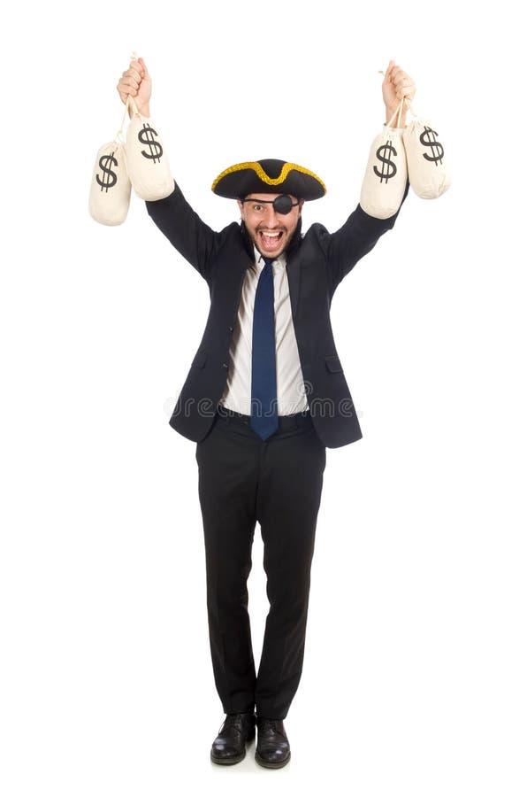 El hombre de negocios del pirata que sostiene bolsos del dinero aislados en blanco fotos de archivo