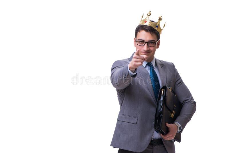 El hombre de negocios del rey aislado en el fondo blanco fotografía de archivo
