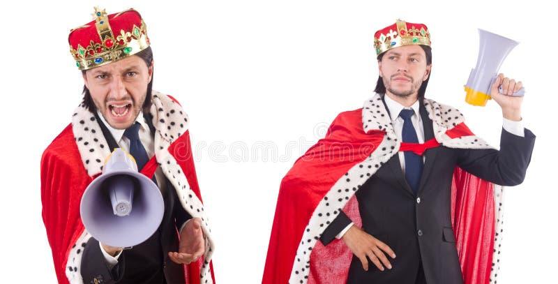 El hombre de negocios del rey con el altavoz aislado en blanco imagen de archivo
