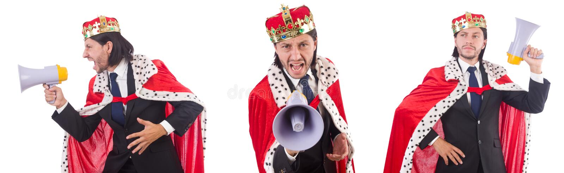El hombre de negocios del rey con el altavoz aislado en blanco fotografía de archivo libre de regalías