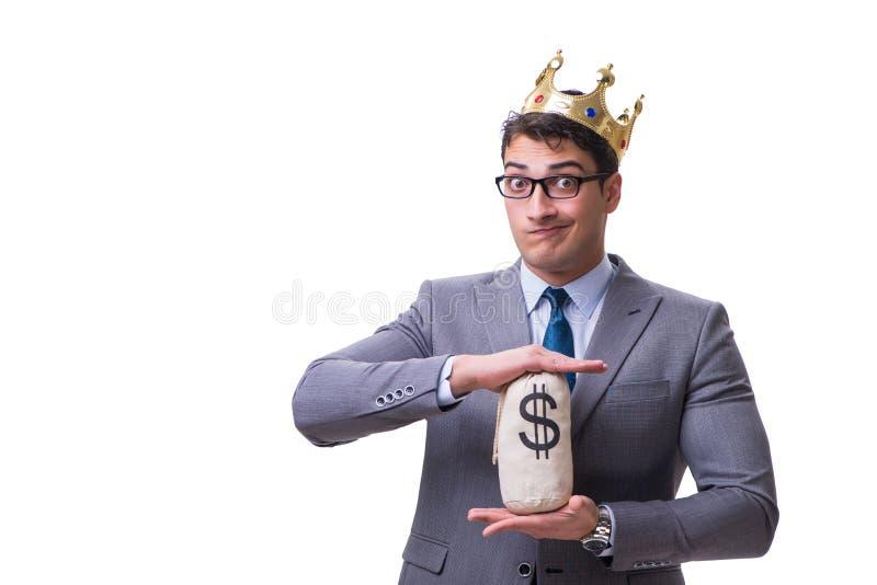 El hombre de negocios del rey que sostiene el bolso del dinero aislado en el fondo blanco fotos de archivo