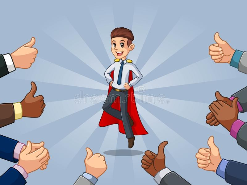 El hombre de negocios del super héroe en camisa con muchos pulgares sube y las manos que aplauden ilustración del vector