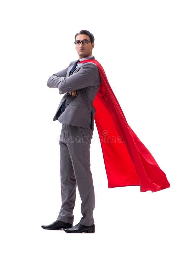 El hombre de negocios del superhéroe aislado en el fondo blanco fotos de archivo