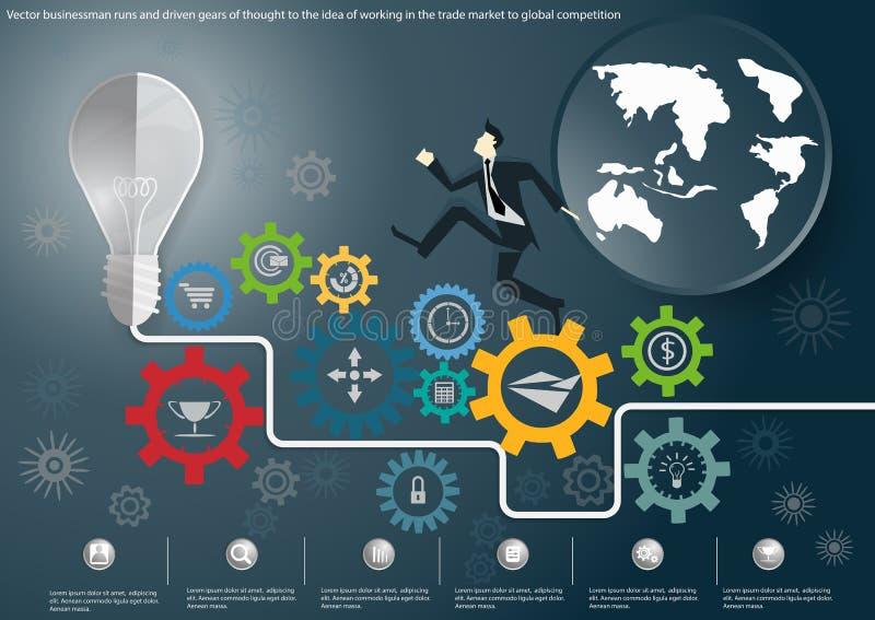 El hombre de negocios del vector corre y los engranajes conducidos del pensamiento a la idea del trabajo en un mercado global com stock de ilustración