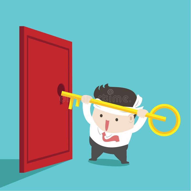 El hombre de negocios desbloquear la puerta en fondo verde ilustración del vector