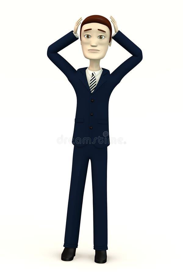 El hombre de negocios - desesperación - 3d rinde stock de ilustración