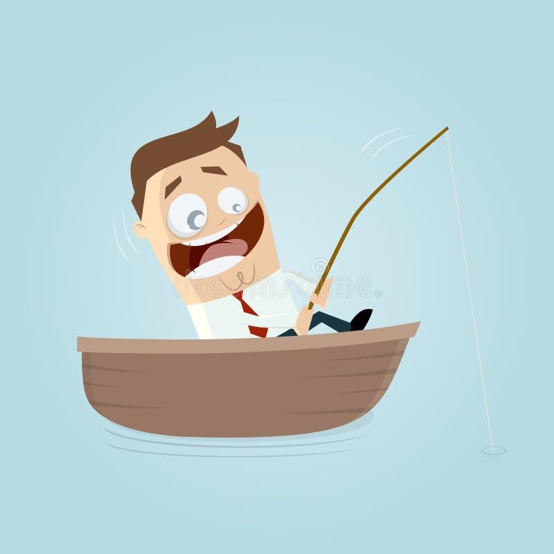 El hombre de negocios divertido en un barco con la caña de pescar tiene una captura grande libre illustration
