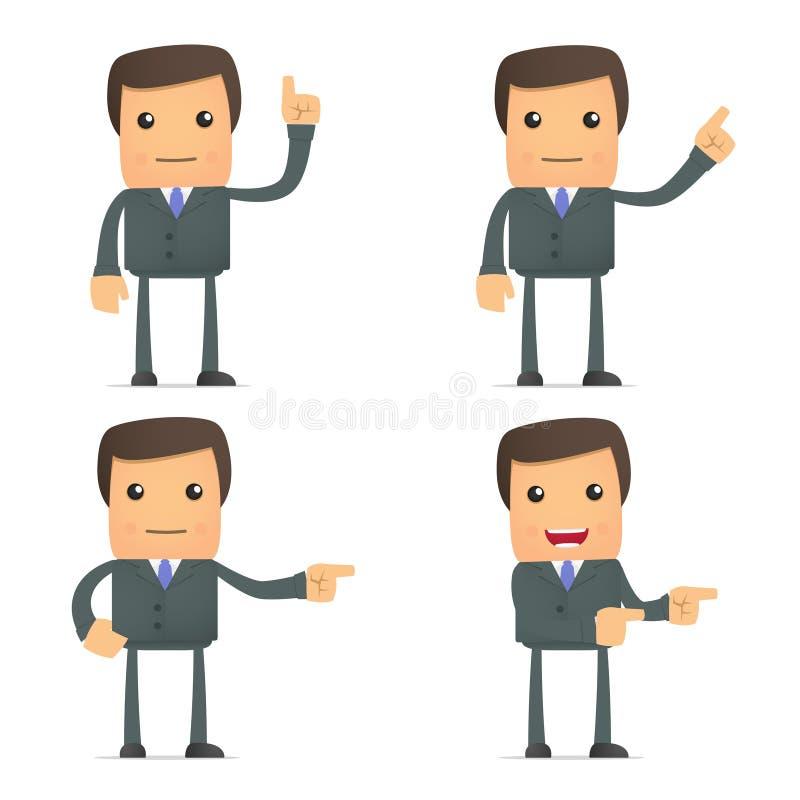 El hombre de negocios divertido muestra su dedo a la cara ilustración del vector