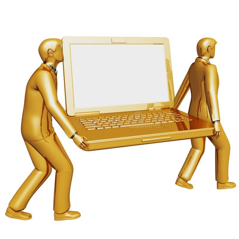 El hombre de negocios dos 3d lleva una computadora portátil grande stock de ilustración