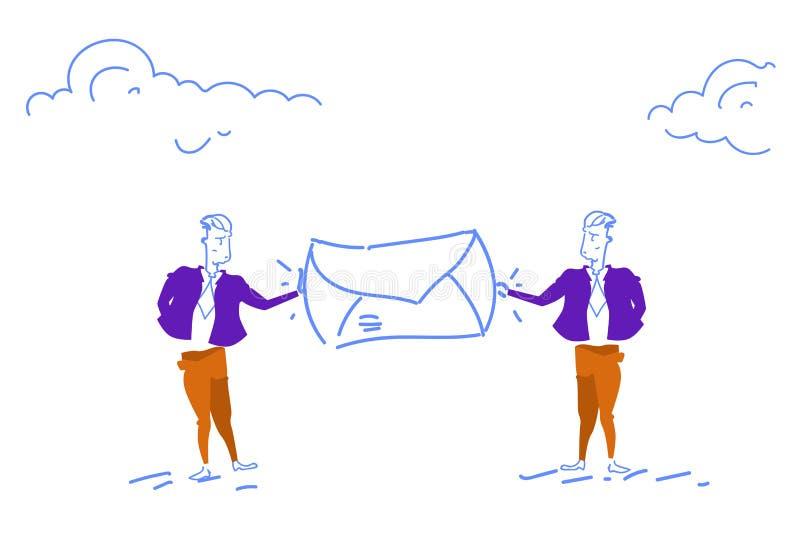 El hombre de negocios dos que detiene a gente del sobre del correo charla el mensaje postal de los documentos del dinero de la le libre illustration