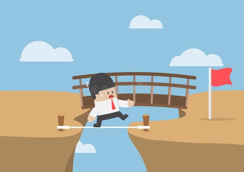 El hombre de negocios elige la manera más corta y peligrosa de apuntar stock de ilustración