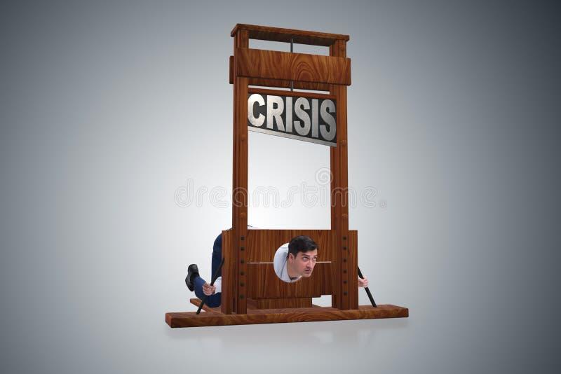 El hombre de negocios en concepto del negocio de la crisis imagen de archivo libre de regalías