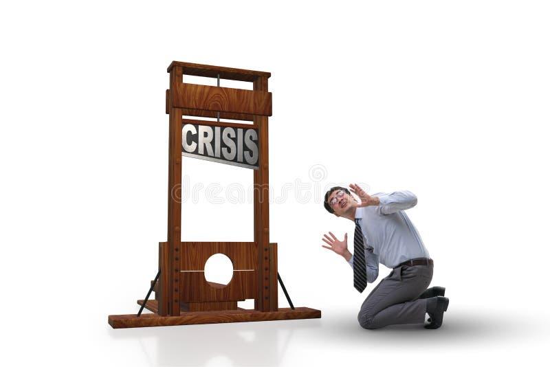 El hombre de negocios en concepto del negocio de la crisis fotografía de archivo
