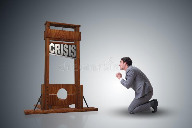 El hombre de negocios en concepto del negocio de la crisis imágenes de archivo libres de regalías