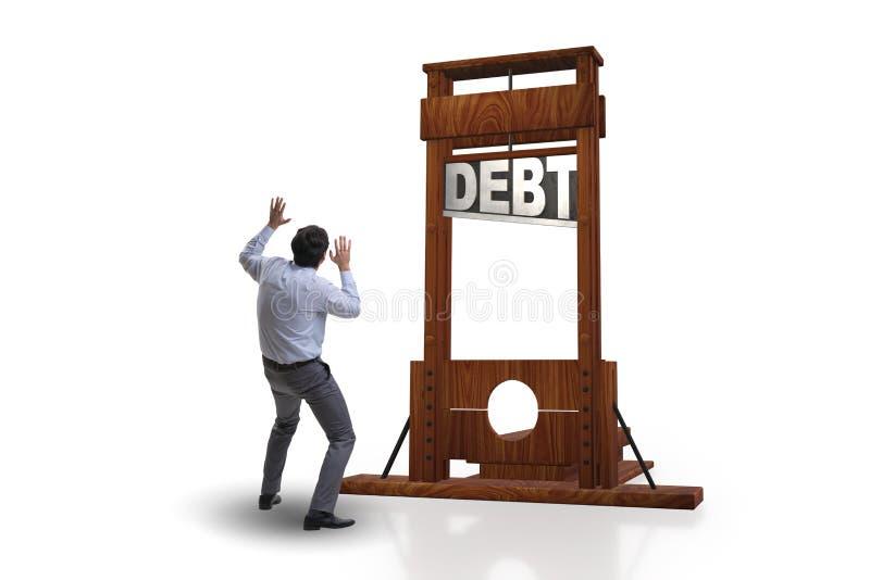 El hombre de negocios en concepto del negocio de la deuda pesada foto de archivo
