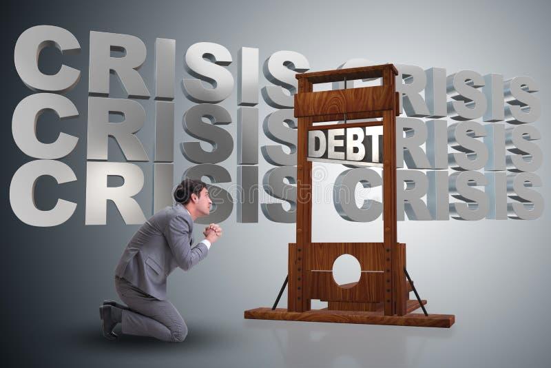 El hombre de negocios en concepto del negocio de la deuda pesada imagen de archivo libre de regalías