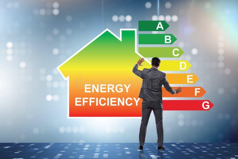 El hombre de negocios en concepto del rendimiento energético imagen de archivo