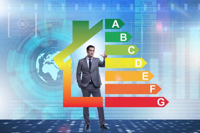 El hombre de negocios en concepto del rendimiento energético imagenes de archivo