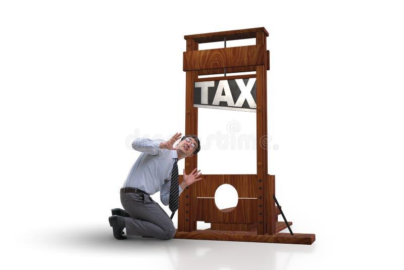 El hombre de negocios en concepto pesado del negocio de los altos impuestos imágenes de archivo libres de regalías