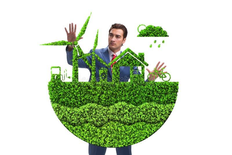El hombre de negocios en concepto verde ecológico libre illustration