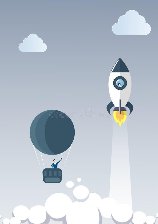 El hombre de negocios en el balón de aire sigue el concepto de Rocket Launch New Stratup Project del vehículo espacial del vuelo ilustración del vector