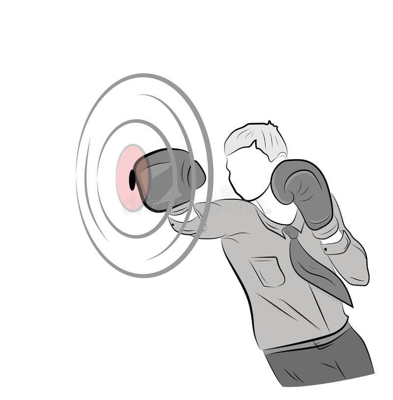 El hombre de negocios en guantes de boxeo golpea la blanco concepto de lucha en negocio Ilustración del vector stock de ilustración