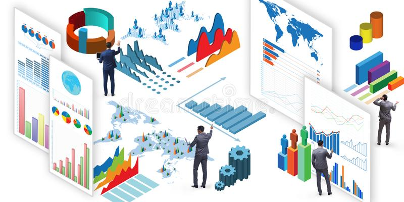 El hombre de negocios en la visualización del negocio y el concepto del infographics ilustración del vector