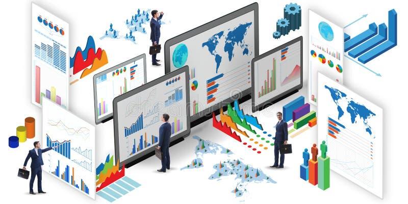 El hombre de negocios en la visualización del negocio y el concepto del infographics stock de ilustración