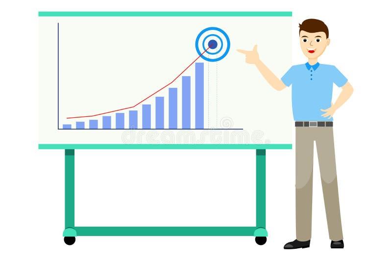 El hombre de negocios en ropa de sport presenta rendimiento empresarial usando el gráfico de barra, señalando el finger a la blan foto de archivo