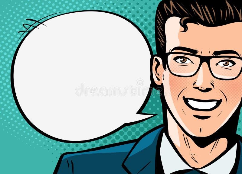 El hombre de negocios, hombre en traje dice Concepto del asunto Estilo cómico retro del arte pop Ilustración del vector de la his stock de ilustración
