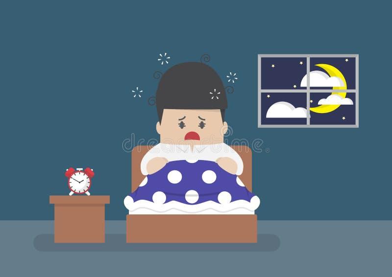 El hombre de negocios es completamente despierto en el centro de la noche ilustración del vector