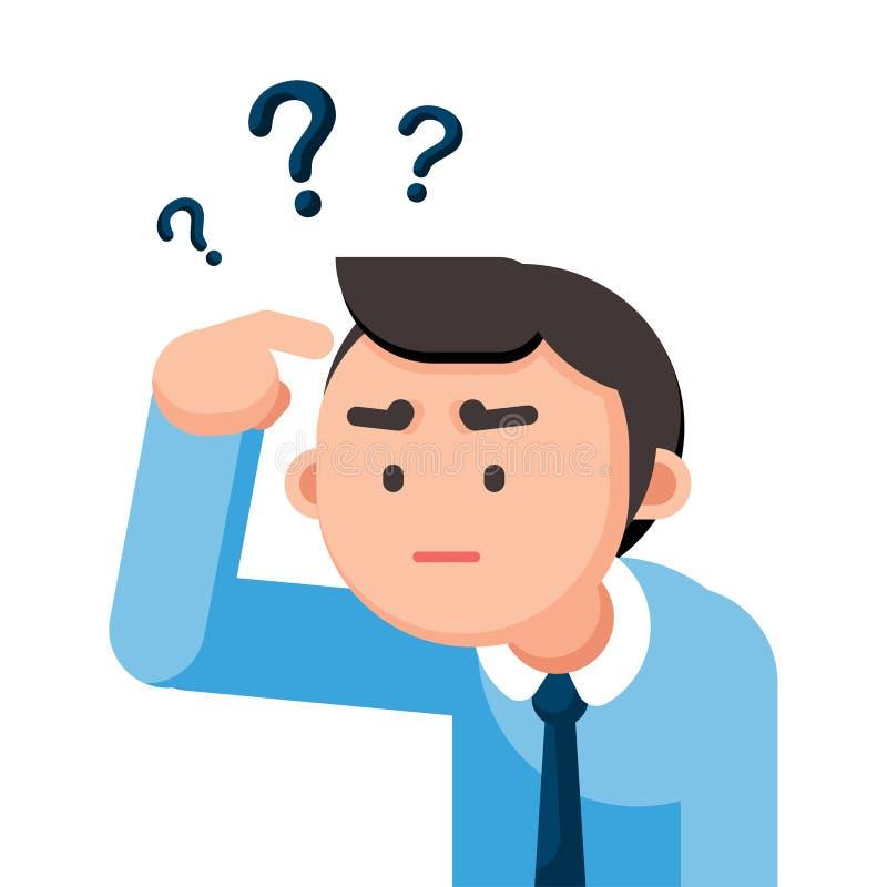El hombre de negocios es confuso y pensando con los signos de interrogación firme, ejemplo del vector ilustración del vector