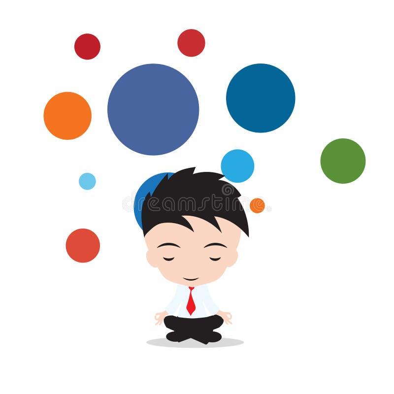 El hombre de negocios es que medita y relajante en yoga del negocio de la actitud del loto Vector el ejemplo, en fondo flotante d ilustración del vector