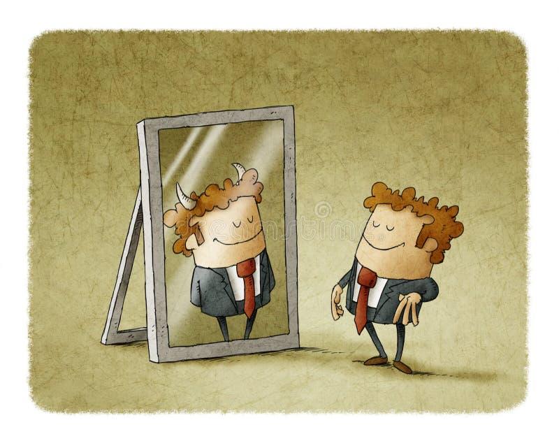 El hombre de negocios es un diablo en un espejo stock de ilustración