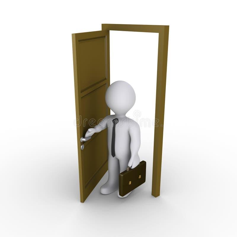 El Hombre De Negocios Está Abriendo Una Puerta Fotografía de archivo libre de regalías