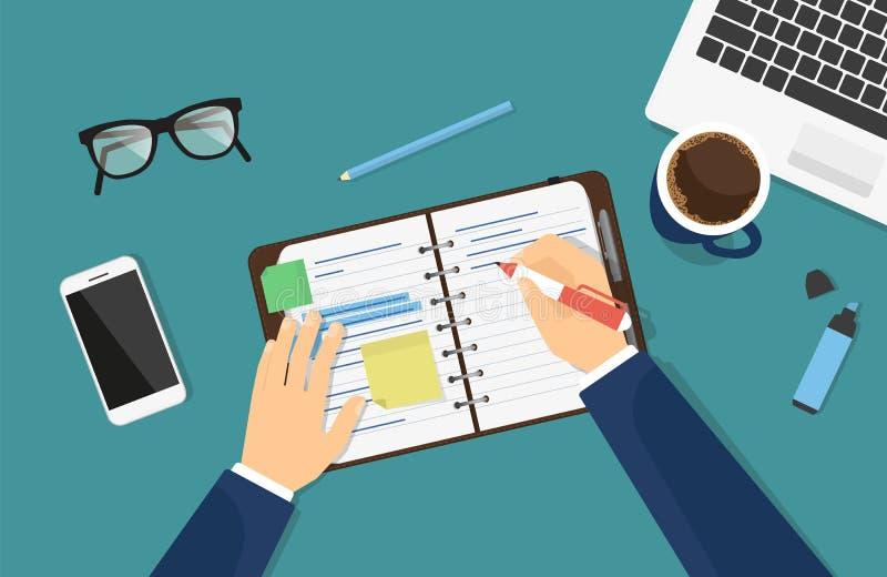 El hombre de negocios está anotando una nota en el cuaderno o el diario stock de ilustración