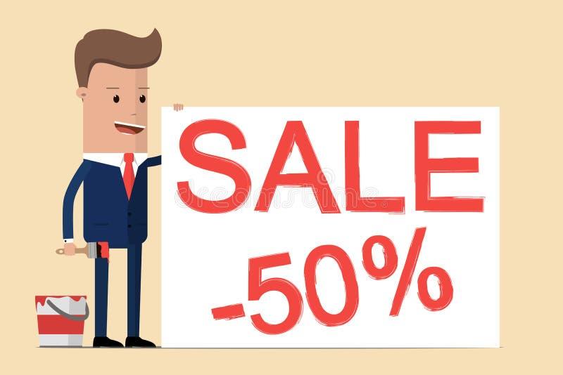El hombre de negocios está dibujando la 'venta el 50% ', él está invitando a la venta grande, descuentos, precios bajos Ilustraci ilustración del vector