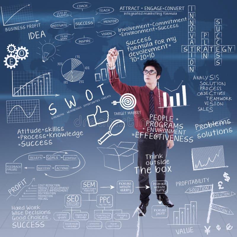 El hombre de negocios está escribiendo fórmula del negocio al éxito ilustración del vector