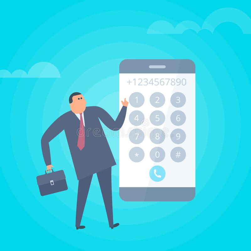 El hombre de negocios está marcando número en el teléfono Illustra plano del vector stock de ilustración
