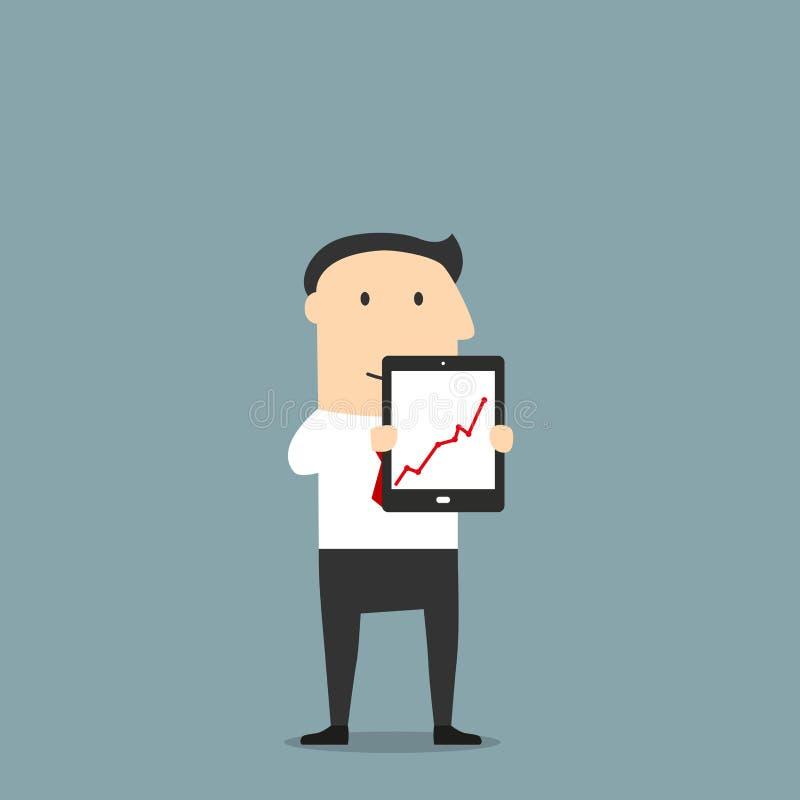 El hombre de negocios está mostrando una tableta con el gráfico de levantamiento ilustración del vector
