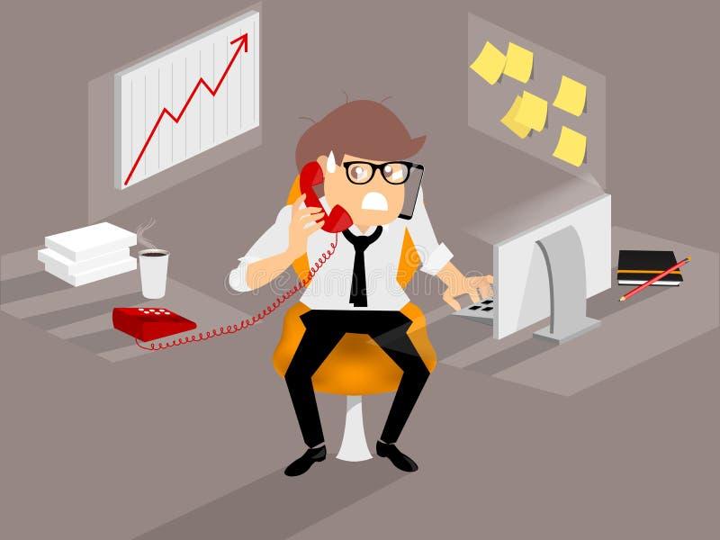 El hombre de negocios está muy ocupado de muchos de trabajo stock de ilustración