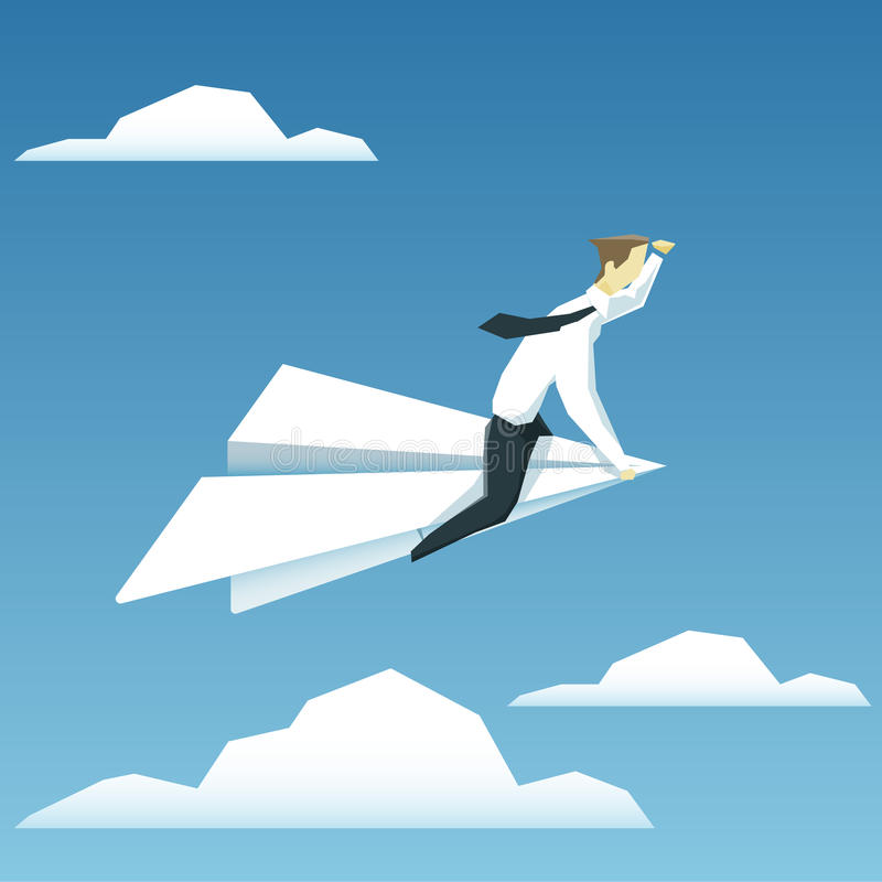 El hombre de negocios está volando en el aeroplano de papel y está mirando adelante stock de ilustración
