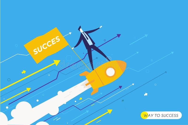 El hombre de negocios está volando en un cohete que mira al futuro stock de ilustración