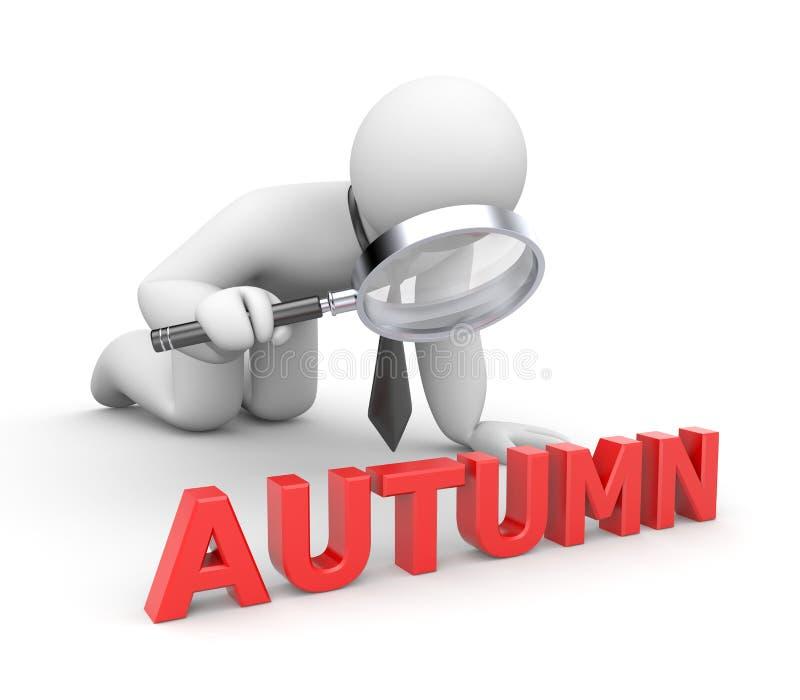 El hombre de negocios examina algo otoño de la palabra ilustración del vector