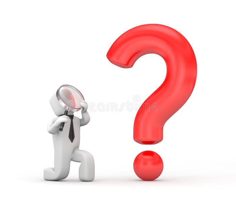 El hombre de negocios examina la pregunta libre illustration
